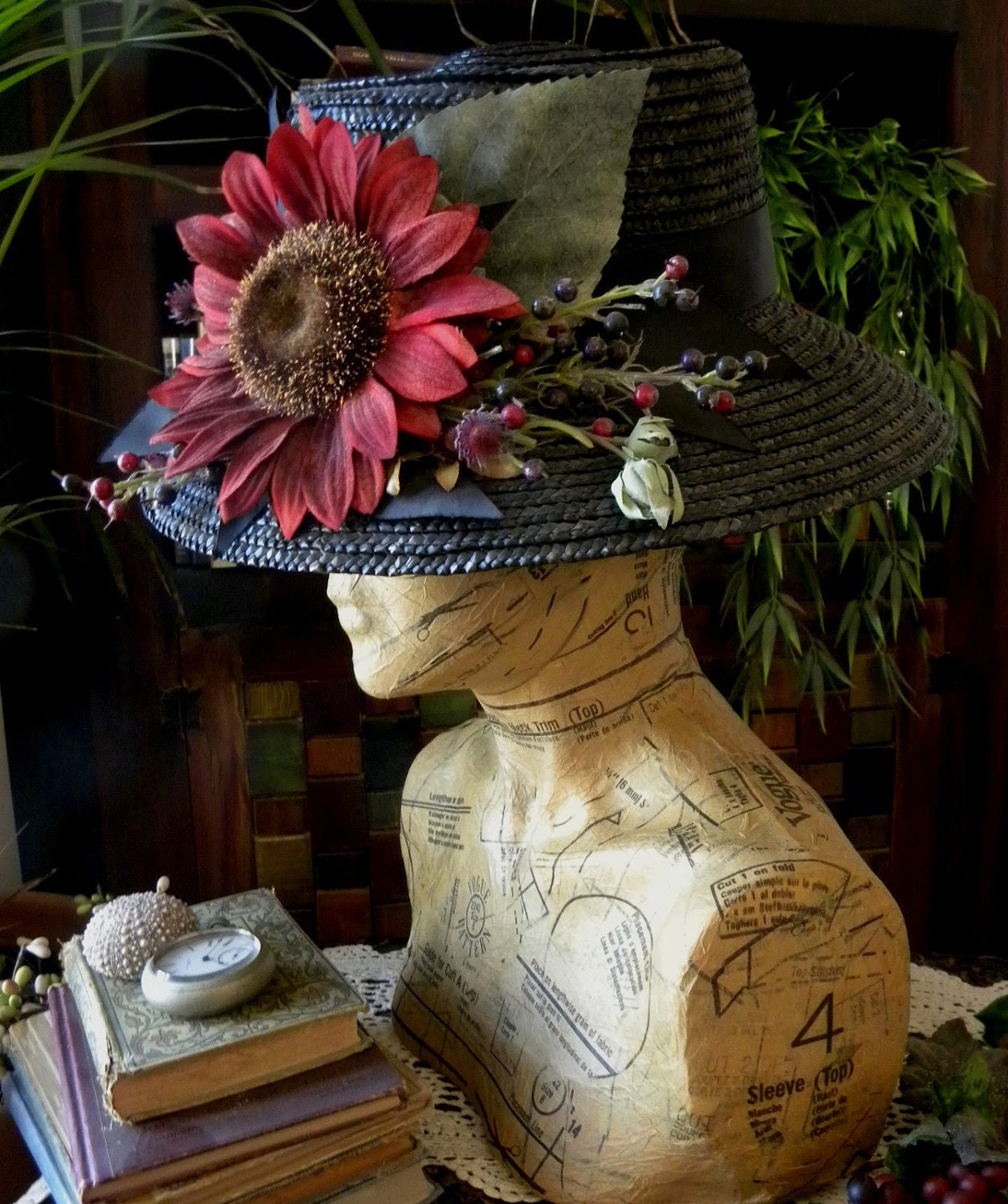 Funky Nancy. A  Display for Jewelry and Hats. Handmade woman's torso and head Display.