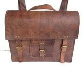 """SALE: 16 """" leather Backpack bag School/College Handmade leather messenger bag/shoulder bag/satchel - leatherpassionkomal"""