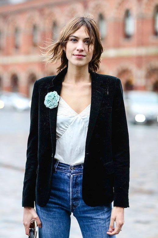 Le Fashion Blog Lfw Street Style Alexa Chung Black Velvet Blazer Cream Cami High Wasted Jeans Via Refinery29