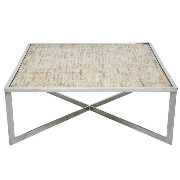 Chrome X-base Cocktail Table at 1stdibs