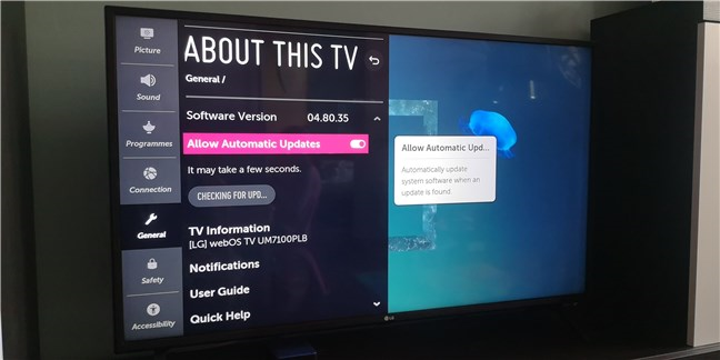 Actualización de firmware en un televisor inteligente LG