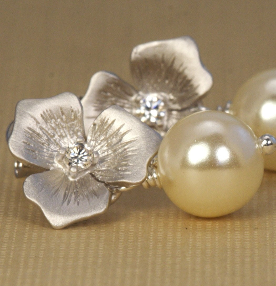 Ivory Pearl and Silver Floral Post Earrings Perfect For The Bride