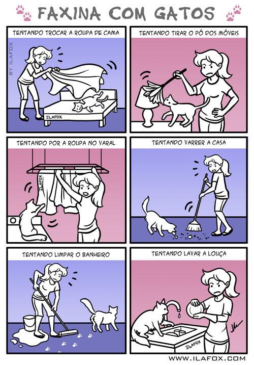 Tentando fazer faxina com gatos, limpando a casa com gatos, gatos atrapalhando a limpeza da casa, quadrinhos by ila fox