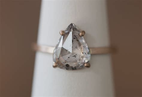 One of a Kind Natural Clear Salt   Pepper Diamond Ring