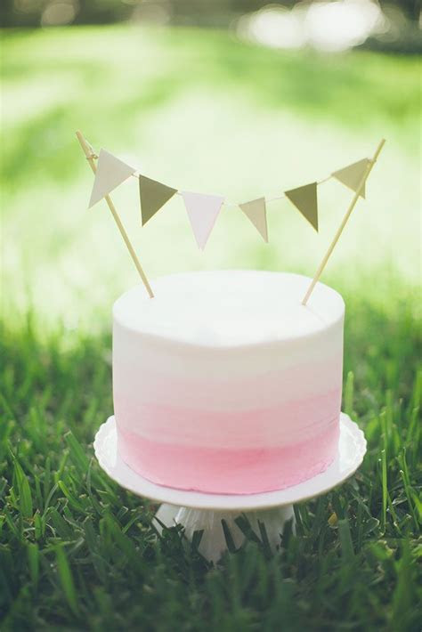 Pink Ombre Cake with Pennant Flag Banner   The Hospitality
