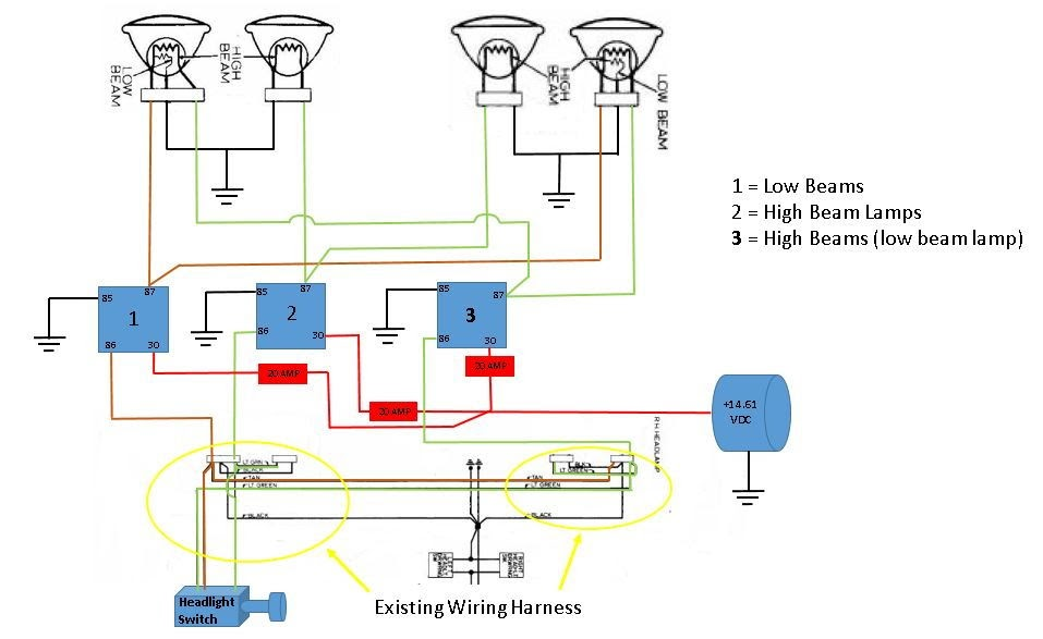 Wiring Diagram Database  High Beam Low Beam Wiring Diagram