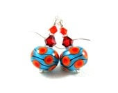 Turquoise Orange Glass Earrings, Beadwork Earrings, Blue Red Orange Lampwork Earrings, Polka Dot Earrings, Geometric Earrings - Wavelength - GlassRiverJewelry