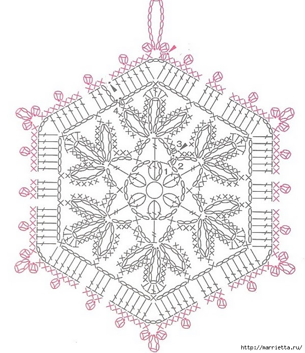 Crochet.  Tack with volume rose (21) (599x692, 269Kb)