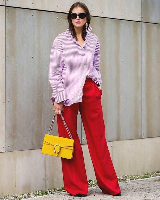 Le Fashion Blog Street Style Sunglasses Red Striped Button Down Red Trousers Yellow Bag Via Style Du Monde