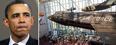 President Barack Obama (AP/Matt Rourke), entrance to the National Air and Space Museum (AP/Evan Vucci)