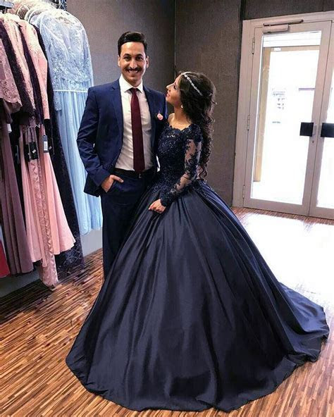 Navy Blue Satin Wedding Dresses Ball Gowns Lace Long