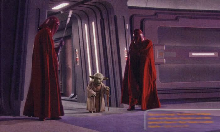 The Imperial Guards of Palpatine look down at Yoda, as the Jedi Master arrives at the newly-proclaimed Emperor's office.