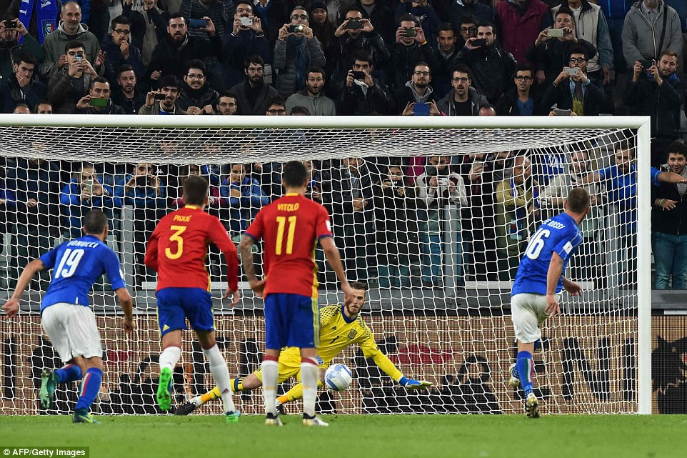 The veteran midfielder beat Spain No 1 David de Gea from the spot after Sergio Ramos had brought down Eder in the box