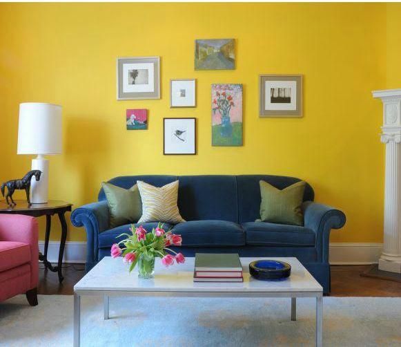 Benjamin Moore's 343 Sunrays egg yolk yellow living room