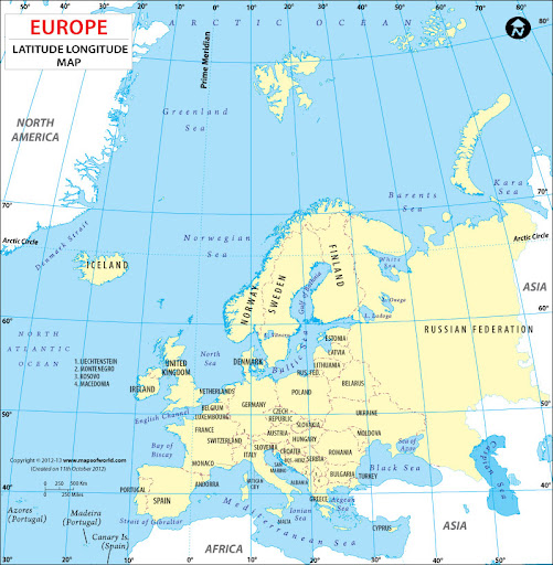 Description : Latitude and Longitude map of Europe continent