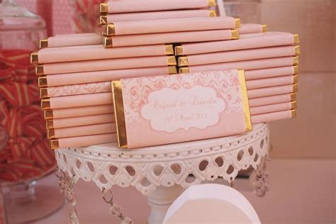 Personalised vintage pink chocolate bar wrappers for