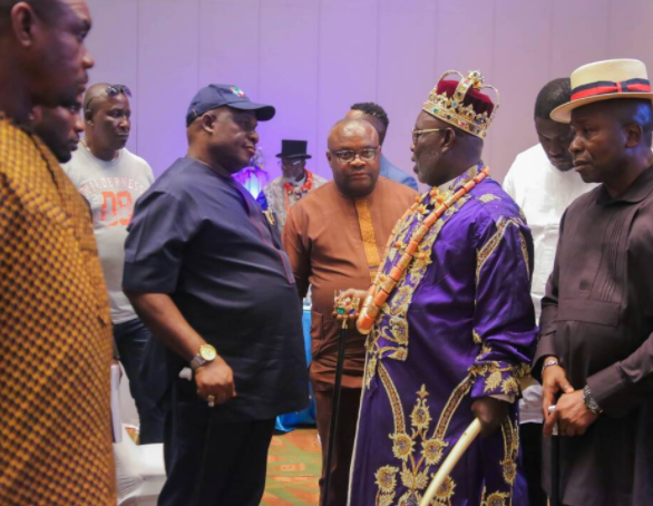 Photos: Ateke Tom attends the Silverbird man of the year award, his first time in Lagos since he became a King