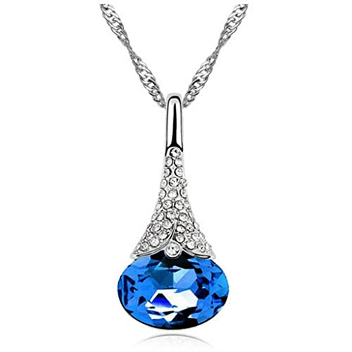 HuntGold 1X Artificial Rhinestone Diamond Crystal Pendant Chain Necklace Lovers Gift(blue)