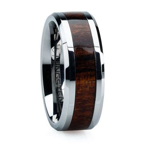 Cool!! Koa wood inlayed in a tungsten band. Unique wedding