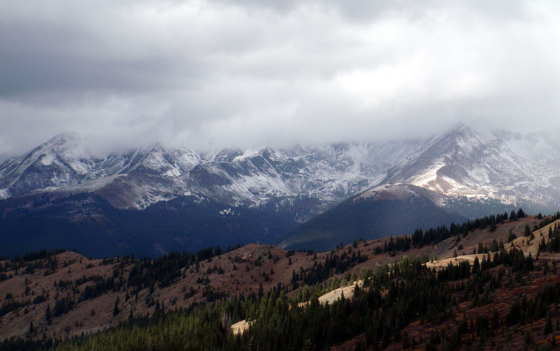 The Three Apostles have their heads in the clouds, Cottonwood Pass, Colorado.