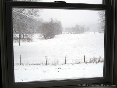 Snowfall through the upstairs windows 11 - FarmgirlFare.com