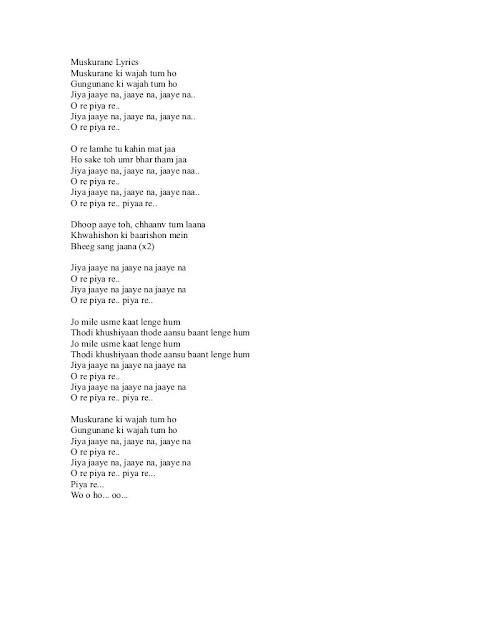 Lyrics Of Muskurane Ki Wajah Tum Ho In English