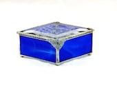 "Victorian Inspired Stained Glass Jewelry Box, Keepsake Treasure Box, Cobalt Blue, Bridesmaid Gift, 3 x 5"" Diamond Shaped - shopworksofglass"