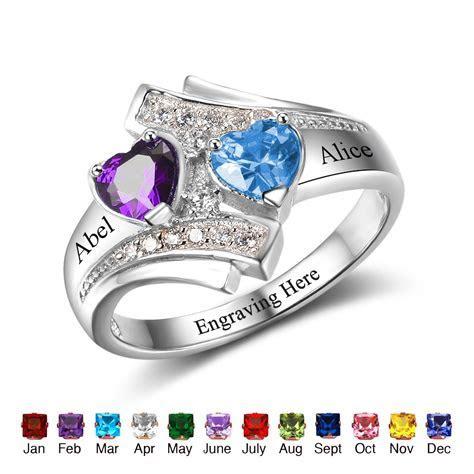 Promise Ring Engrave Name Heart Birthstone Custom Ring 925
