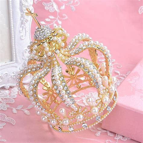 2016 Gold Wedding Crown Cheap Modest Bridal Tiaras Beads
