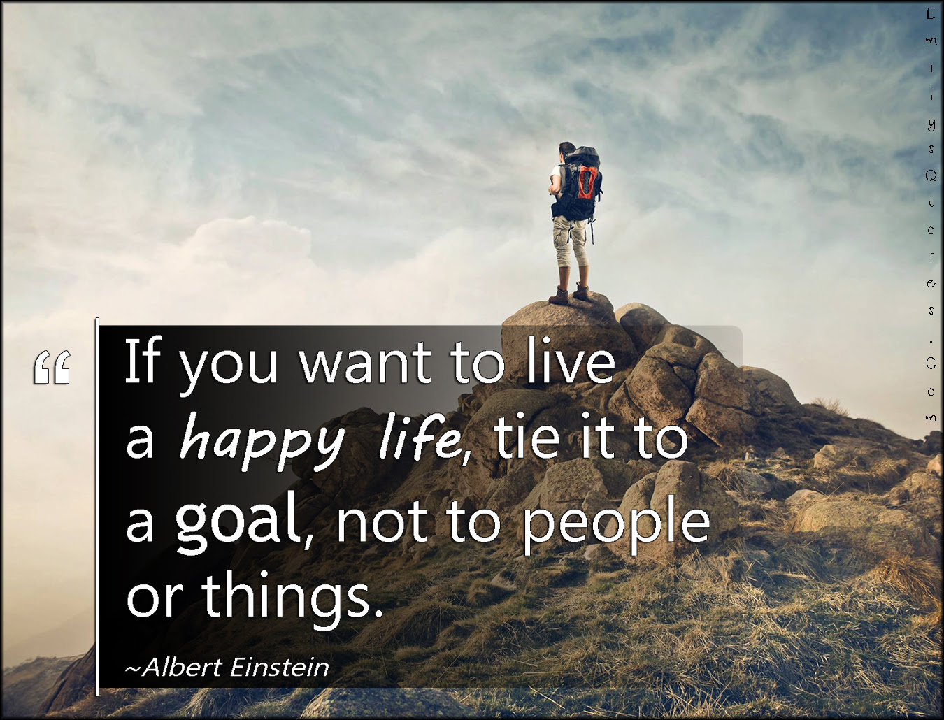 If you want to live a happy life, tie it to a goal, not to ...