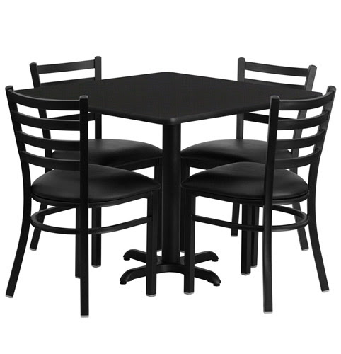 Cafeteria Breakroom Square Dining Table Set With 4 Black Chairs