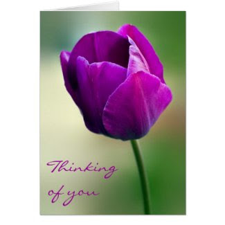 Purple Tulip Thinking of you Card