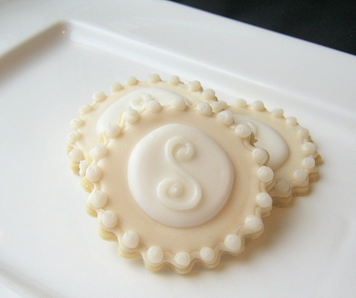 Iced Sugar Cookies Monogram Wedding Favor Cookie Pearlized