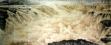 Chinese Yellow River Painting,140cm x 360cm,1097003-x