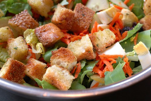Homemade garlic & herb croutons in salad by Eve Fox, Garden of Eating blog, copyright 2012