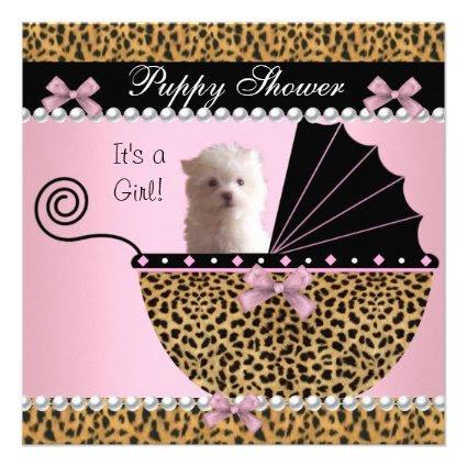 Puppy Shower Cute Dog Pink Leopard Custom Invitations