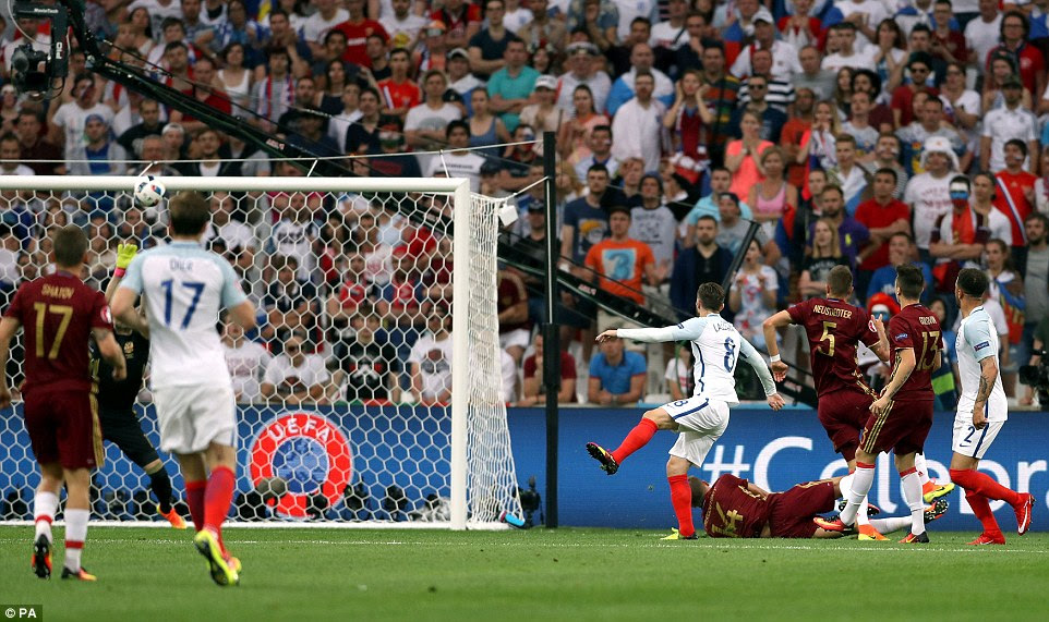 England came close to taking an early lead when Adam Lallana saw an effort tipped over the bar by Russia goalkeeper Akinfeev