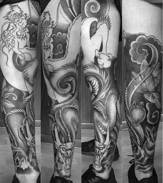 30 Dragon Leg Tattoo Designs For Men Masculine Ink Ideas