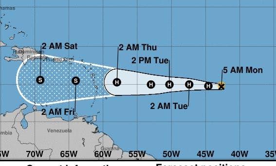 Trayectoria del huracán Isaac.