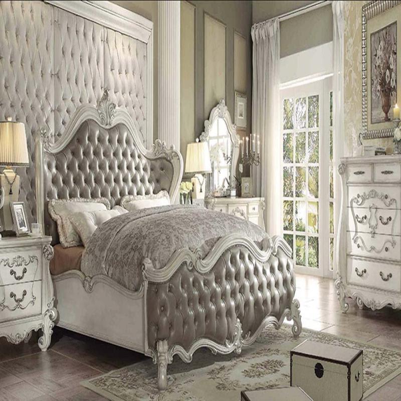 Formal 4 Piece Vintage Gray Bedroom Set Acme   Hot Sectionals