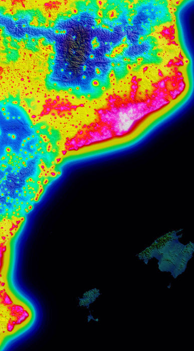 carte de la pollution lumineuse en espagen basse resolution, sans toponymie