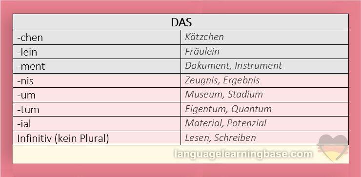 der die das  rules for articles  gender in german