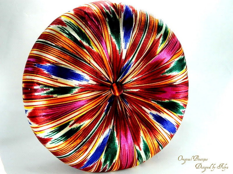 Colorful ikat silk velvet round pillow by originalboutique