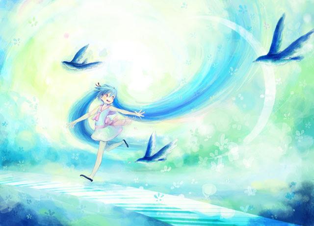 初音ミク鳥とミクの可愛いイラスト画像ボカロ壁紙