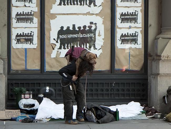 Homeless man and dog, nyc