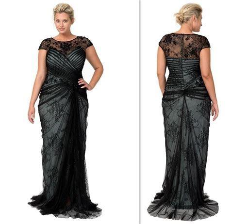 Plus Size Dresses 2015 Black Lace Cap Sleeves Sheer