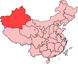 Xinjiang is highlighted on this map