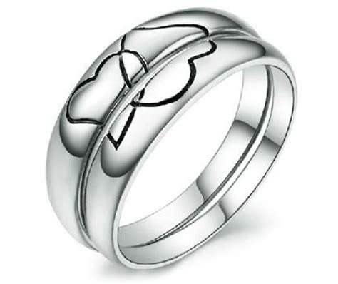 Black Engraved Heart 2 Heart Cheap Couple's Wedding Bands