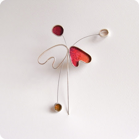 handmade silver and paper brooch