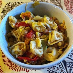 Leftovers, Redefined: Roasted Garbanzo, Tomato & #Hatch Salad w/ Tortellini & Chopped Heirlooms